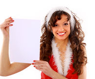 Isolated happy young christmas woman Royalty Free Stock Images