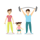 Isolated healthy family. Stock Photo