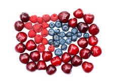 Isolated heap of cherry, blueberry and raspberry stock photos