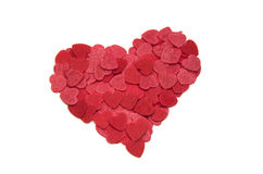 Isolated heart. Lovely heart made of little heart shapes Stock Photos
