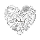 The isolated heart of bakery products. Vector illustration for your design Stock Image