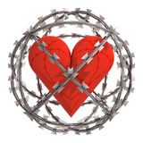 Isolated heart in barbed wire sphere Stock Photography