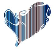 Isolated heart and blue lines, love image Stock Photos