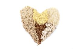 Isolated heart of cereals Stock Photo