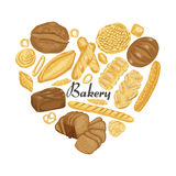 The isolated heart of colored bakery products. Vector illustration for your design Royalty Free Stock Image