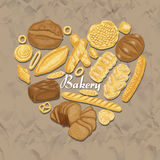 The isolated heart of colored bakery products. Vector illustration for your design Stock Images