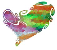 Isolated heart, colorful rainbow forms on white background Stock Photography