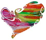 Isolated heart, colorful rainbow paint on white background Stock Images