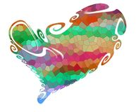 Isolated heart, colorful rainbow shapes on white background Stock Photos