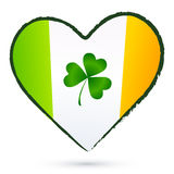 Isolated heart with green cliver and Irish flag Stock Photo