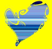Isolated blue heart on yellow background Stock Image