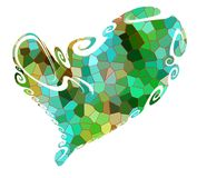 Isolated heart and playful green shapes, love image Royalty Free Stock Photos