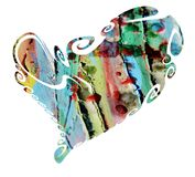Isolated heart and playful muddy paint shapes, love image Royalty Free Stock Images