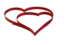 Isolated heart of red ribbon on a white background for the  Vale Stock Photos