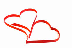 Isolated heart of red ribbon on a white background for the  Vale Royalty Free Stock Photo