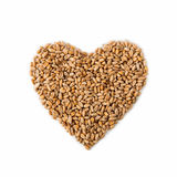 Isolated Heart Shape From Ripe Wheat Seeds Stock Photo