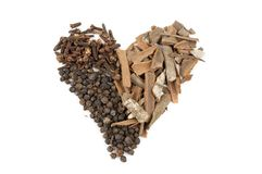 Isolated heart of the spices Stock Image