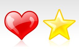 Heart and star icons. Isolated heart and star icons with gloss Stock Images