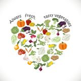 Isolated heart of vegetables. Vector illustrations Stock Image