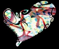 Isolated heart. Wax spots and abstract watercolor background Royalty Free Stock Photo