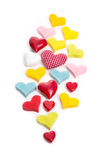 Isolated hearts of different colors Stock Photography