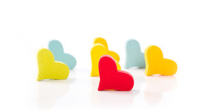 Isolated hearts for valentine in different colors on white backg Royalty Free Stock Photos