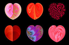 Isolated hearts for your design. set 1. Set of six decorative textured isolated hearts Stock Photo