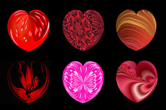 Isolated hearts for your design. set 2. Set of six decorative textured isolated hearts Royalty Free Stock Image