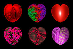 Isolated hearts for your design. set 3. Set of six decorative textured isolated hearts Stock Photography