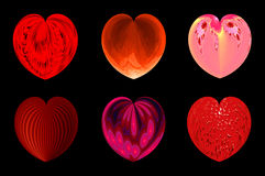 Isolated hearts for your design. set 4. Set of six decorative textured isolated hearts Stock Photos