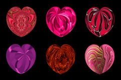 Isolated hearts for your design. set 5. Set of six decorative textured isolated hearts Stock Photos