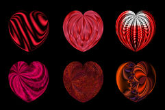 Isolated hearts for your design. set 6. Set of six decorative textured isolated hearts Stock Image