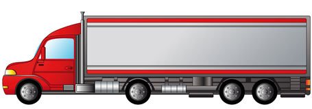 Isolated heavy truck. With space for text Royalty Free Stock Photos