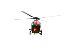 Isolated Helicopter. Isolated air ambulance helicopter approaching royalty free stock photography