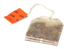 Isolated Herbal Tea Bag. An herbal tea bag isolated on a white background Royalty Free Stock Photography