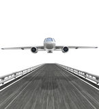 Isolated highway with airplane flight Royalty Free Stock Images