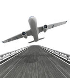 Isolated highway with airplane take of Stock Photos