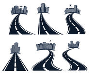 Isolated highway road with dividing marking and cityscape icons collection vector illustration. Stock Photo
