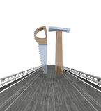 Isolated highway with saw and hammer tools Stock Photography