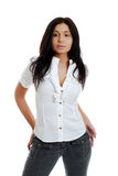 Isolated hispanic woman wearing black jeans Stock Photography