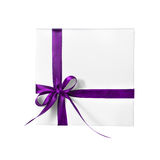 Isolated Holiday Present White Box with Purple Pink Ribbon. On a White Background Stock Photo