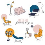 Isolated home decor elements in hand drawn style. Vector scandinavian interior design . Illustration of furniture. Bedside table, flowers, sofa, lamp, chair vector illustration