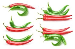 Isolated hot peppers collection stock photos