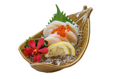 Isolated Hotate Sashimi : Raw Scallop Served with Ikura Salmon Roe with Sliced Radish and Lemon.  Stock Images
