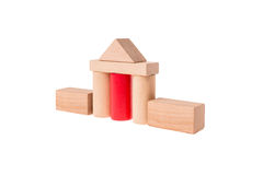 Isolated House. Build with different colored toy bricks Royalty Free Stock Images