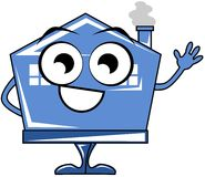 Isolated nice house cartoon smiling. Illustration representing a house in a cartoon version. Image usable to talk about real estate or services Royalty Free Stock Photo
