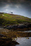 Isolated House on a cliff. Overlooking the sea shore Royalty Free Stock Images