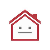 Isolated house with a emotionless text face Stock Photo