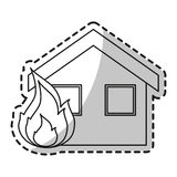 Isolated House on fire design. House on fire icon. Insurance health care security and protection theme. Isolated design. Vector illustration Royalty Free Stock Photography