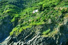 Isolated house in the nature and mountains  Stock Photo